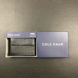 NIB Colehaan Black Leather Slim Bifold Wallet